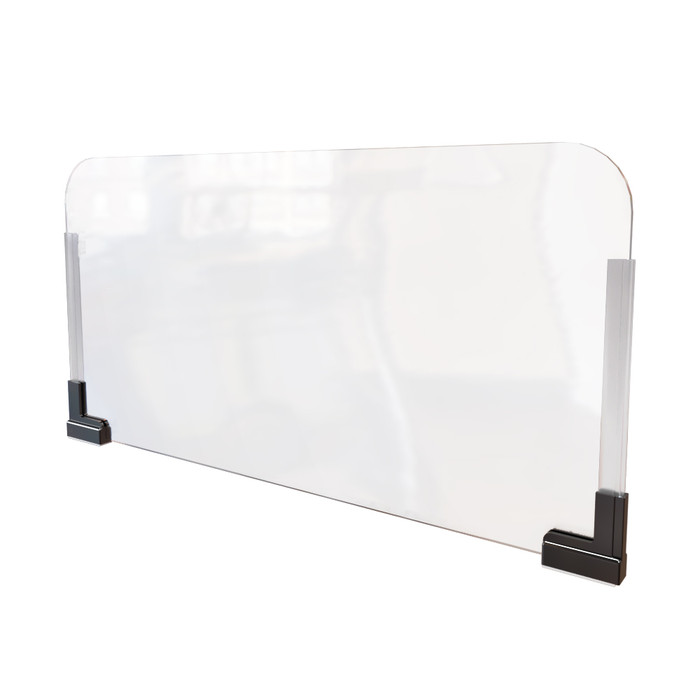 clear acrylic plexiglass shield for cubicle that's manufactured by DGS Retail