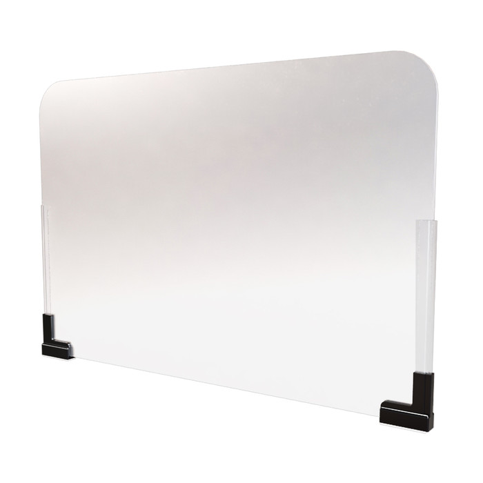 frosted acrylic office cubicle extender sneeze guard with magnet base manufactured by DGS retail