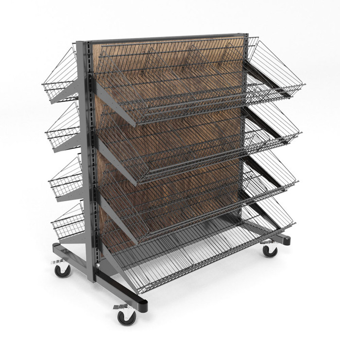 Wheeled Mobile Gondola With Wire Dump Bin Shelves Made By DGS Retail