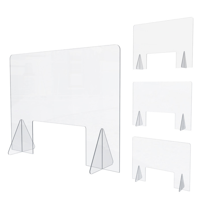 Set of 4 Personal Sneeze Guard Desk & Counters, Acrylic 32x24H Made In USA By DGS Retail