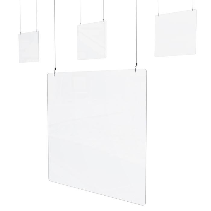 Set of 4 Hanging Sneeze Guard Checkout Counter, Acrylic 38.5 x 38.5H (P1905) Made By DGS Retail