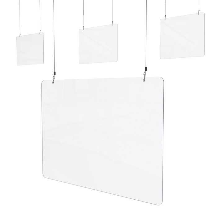 Set of 4 Hanging Sneeze Guard For Nail Salon Beauty Spa, Acrylic 32 x 24H (P1951) Made By DGS Retail