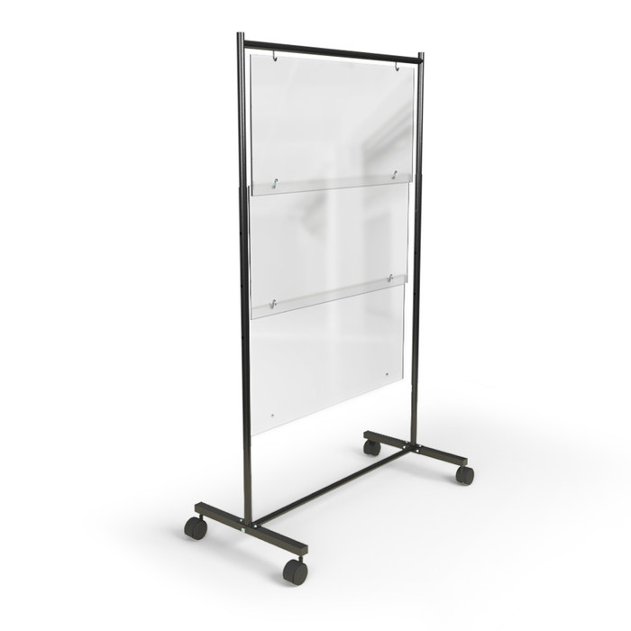 Frosted acrylic floor standing mobile sneeze guard for restaurants made by DGS Retail