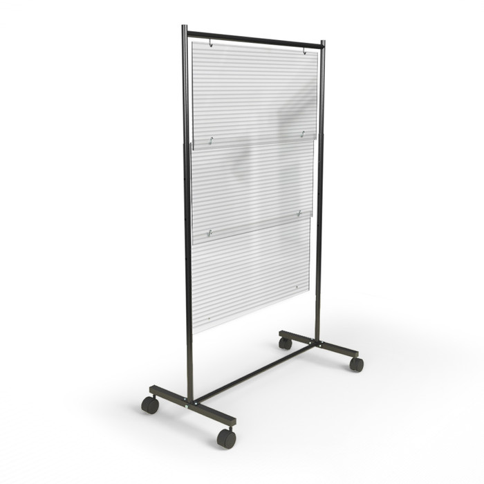 Polycarbonate acrylic rolling mobile sneeze guard for use at restaurants, schools and offices made by DGS Retail