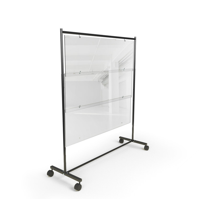 Clear acrylic freestanding rolling sneeze guard partition shield for restaurants, schools and offices made by DGS Retail