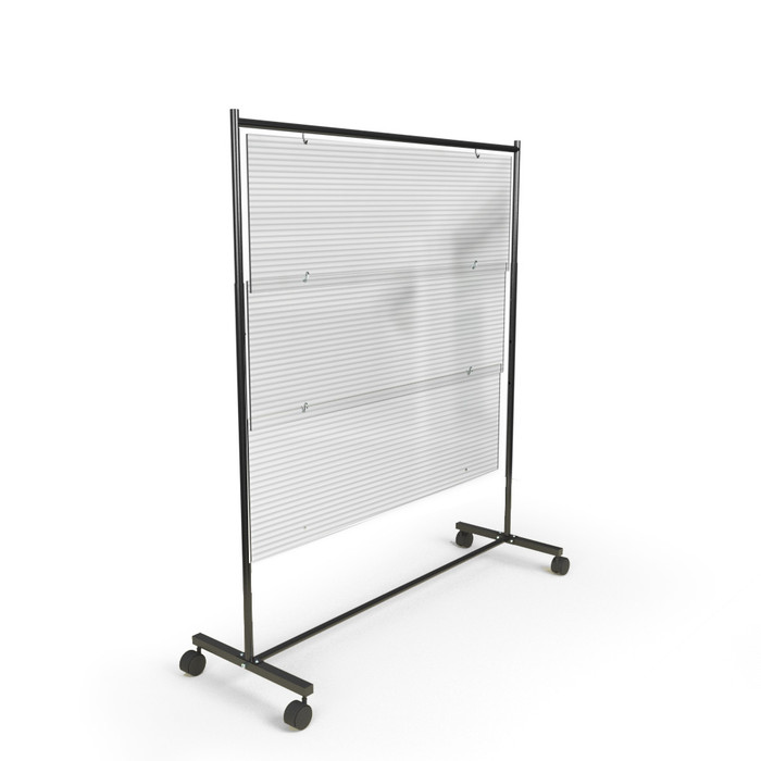 Polycarbonate acrylic rolling sneeze guards for restaurants, offices and school tables made by DGS Retail