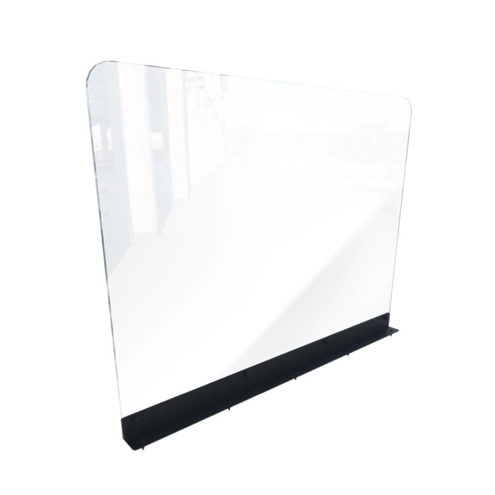Restaurant booth clear acrylic sneeze guard partition shield made by DGS Retail