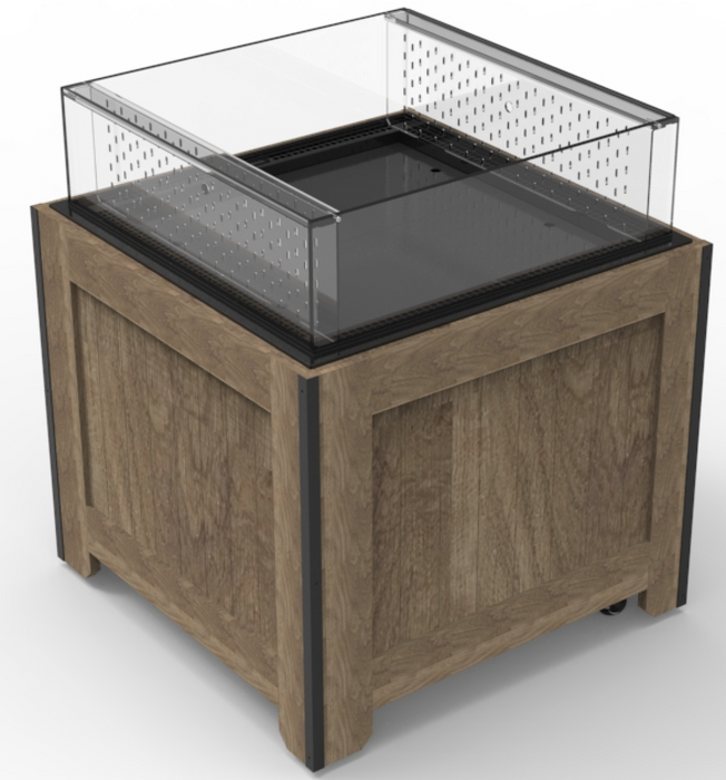 Refrigerated wood orchard bin display case for food, meat, sushi, deli, produce, dairy and bakery items in stores