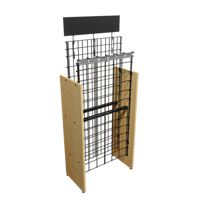 Commercial Wood Wire Wine Rack w/Sign & Tag Holders, 6-Case 24W