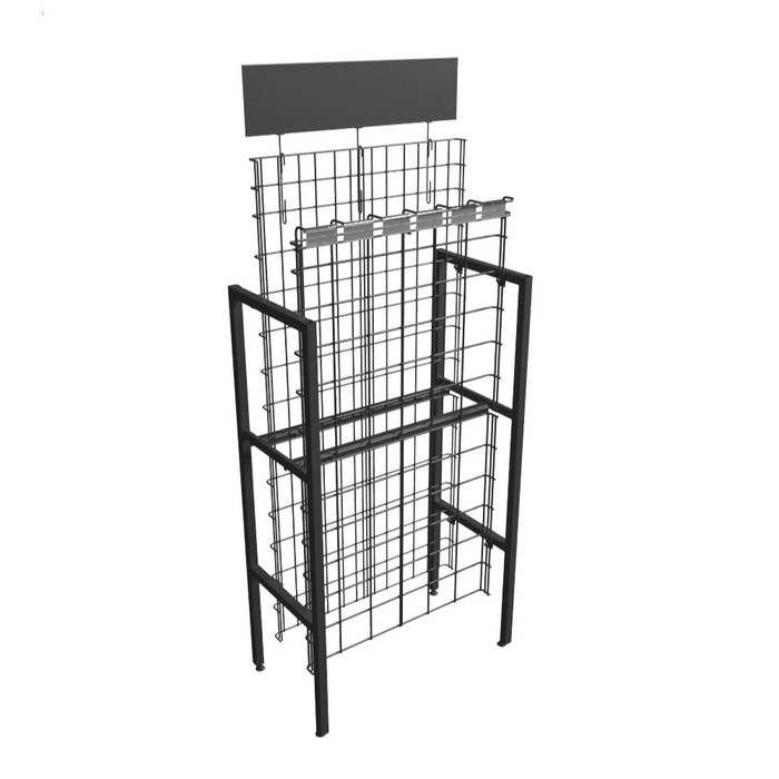 commercial metal wire wine rack display at liquor store