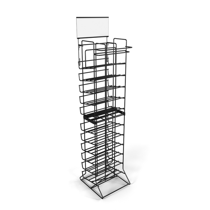 Wire wine bottle floor stand display rack manufactured by DGS Retail
