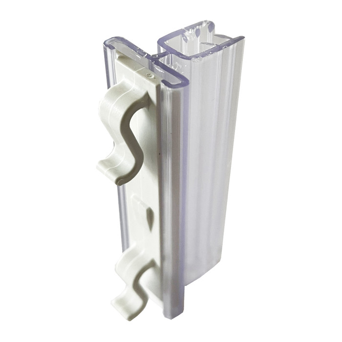 plastic warehouse aisle sign holder with gripper for displaying location signs on pallet racks