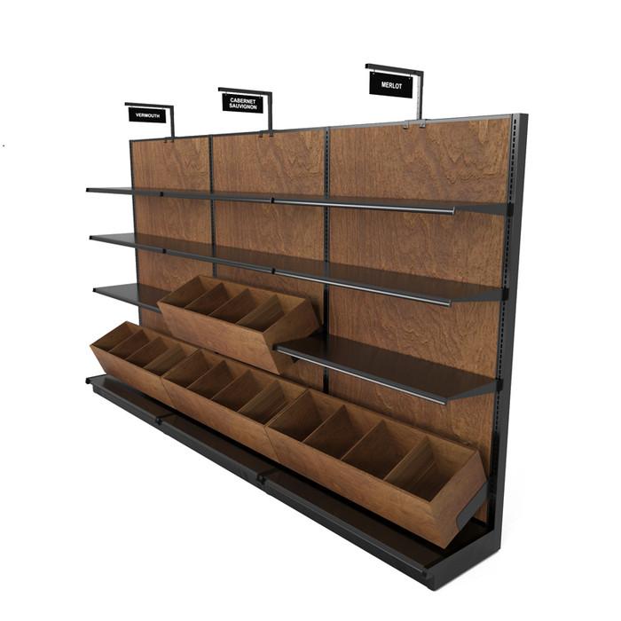 Liquor store rack with gondola shelving and wine bins.