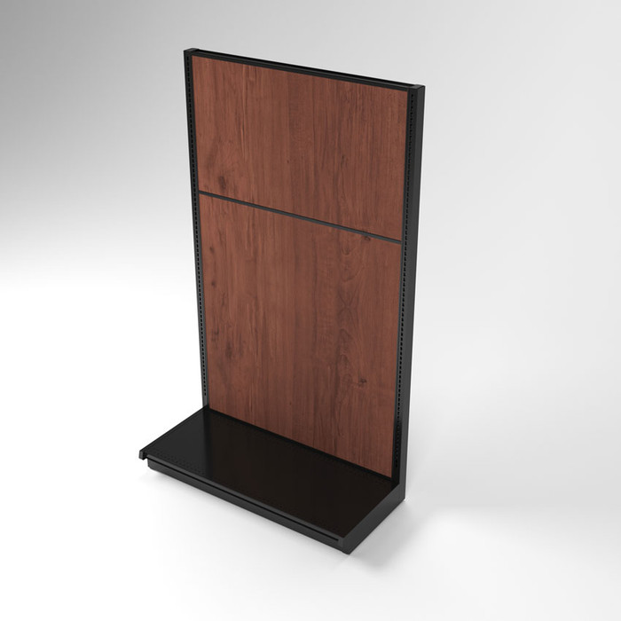 Top down view of 84 inch wall gondola shelving unit with wood back panels.