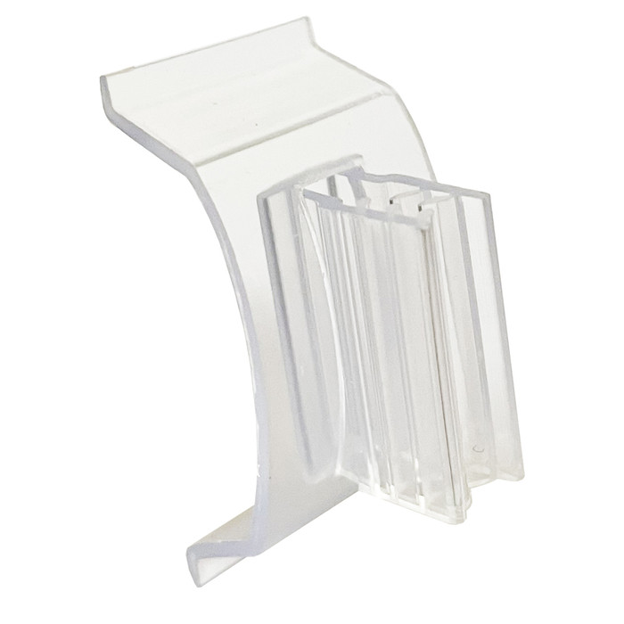 small plastic sign holder clip with gripper for displaying flag signs on gondola shelf edges at retail stores