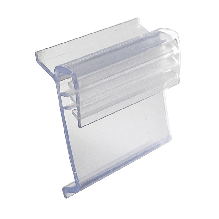 small plastic sign holder clip with gripper for displaying sale signs and price tags on gondola shelf edges at retail stores