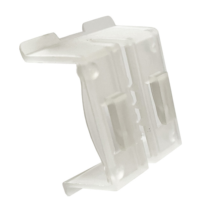 clear plastic small retail sign holder clip for displaying sale signs on gondola shelf edges at convenience stores