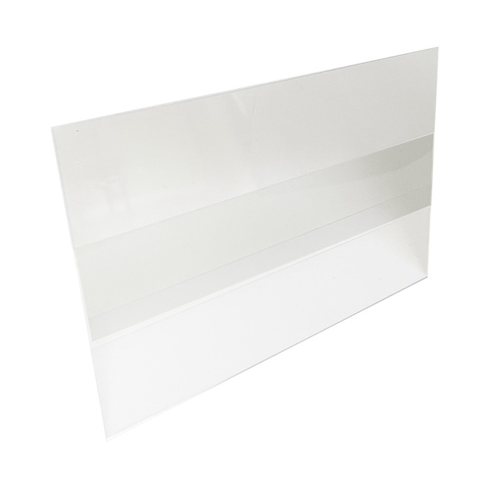 clear plastic wine talker sign holder for displaying sale signs and price tags on gondola shelving shelf edges at retail stores