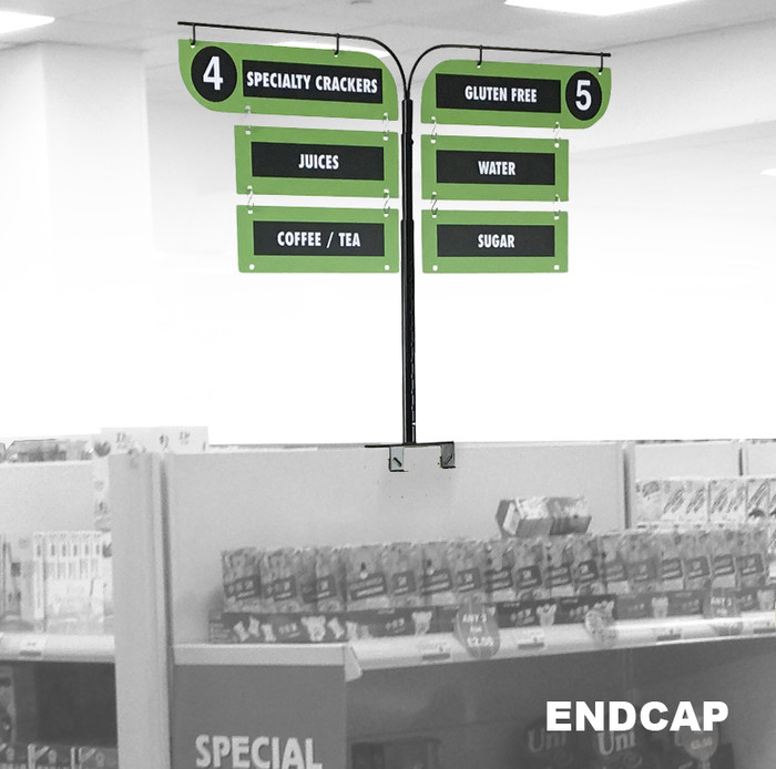 signs for store gondola shelving end caps