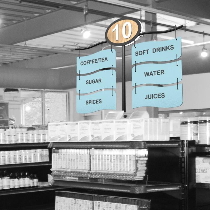 store gondola shelving aisle signs