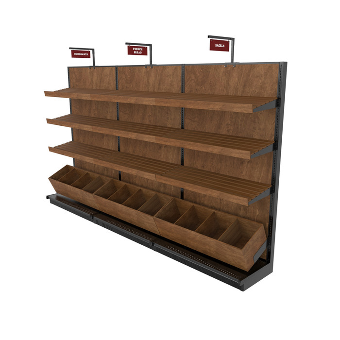 Bakery display rack shown with gondola shelving and bread bins.