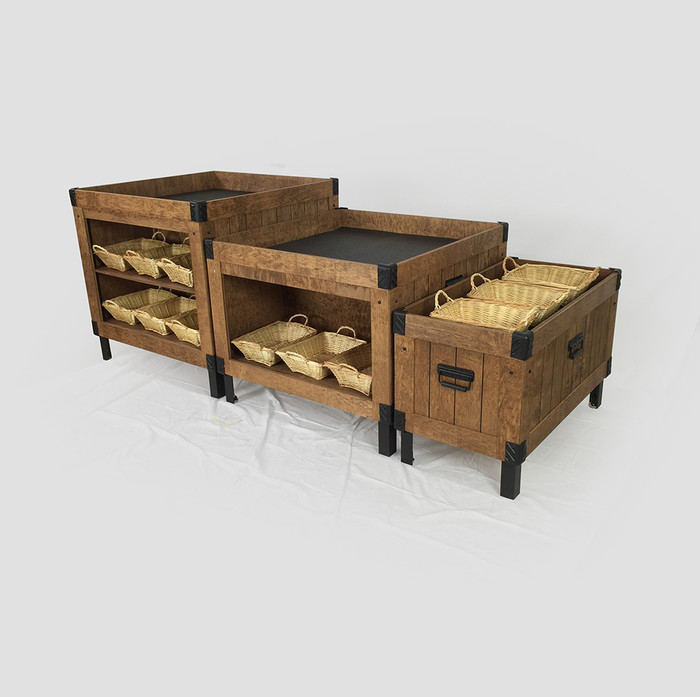 wood orchard bin produce display
