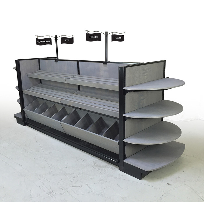 wood bakery bread pastry case shelving