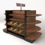 wood bakery display shelves