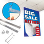 Plastic banner rail kit, shown with parts and how it can be used in a mattress store.