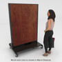 Rolling gondola unit with chestnut wood back panels and base shelves. Model shown for size comparison.