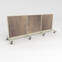 Twelve foot wide mobile gondola unit with stained wood back panels.