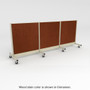 This is a portable twelve-foot-wide gondola with brown stained wood back panels.