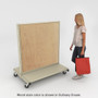 Person looking at platinum mobile gondola shelving with wood back panels and base decks.