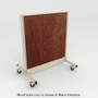Platinum rolling gondola with chestnut stained wood back panel.