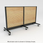Slatwall gondola with wheels and light stained wood back panels.
