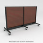 Slatwall gondola with wheels and stained wood back panels.