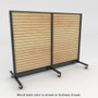 Rolling slatwall shelving with light stained wood back panels.