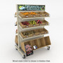 Rolling produce display shown with oak stained bins and shelving.