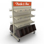 """Rolling Gondola Unit with 6 Shelves and 2 Wood Bins, 48""""W x 72""""H"""