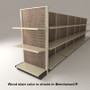 Slatwall end cap gondola shelving unit shown attached to an island display with two shelves and beechwood stained wood backings.