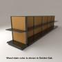 Black slatwall endcap gondola shelving unit with black shelves and golden oak stained wood backings.
