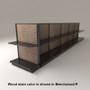 Black slatwall endcap gondola shelving unit with black shelves and beechwood stained wood backings.