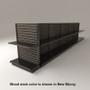 Black slatwall endcap gondola shelving unit with black shelves and new ebony stained wood backings.