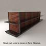Black slatwall endcap gondola shelving unit with black shelves and warm chestnut stained wood backings.