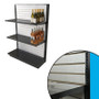 Single-sided black gondola shelving unit shown in liquor store configuration with brushed aluminum slatwall backing, two shelves, and example wine bottles.