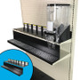 Crumb tray and top shelf kit shown on 48-inch-wide gondola shelf with Trade Fixtures 6-inch-wide gravity bin.
