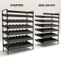 Gravity feed beer shelving, shown in starter and add-on kit forms.
