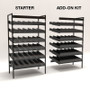 Gravity feed beer shelving, shown in starter and add-on forms.