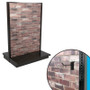 Red brick slatwall double-sided gondola shelving unit shown, with closeup showing panel and slatwall hook.