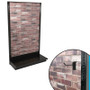 Red brick slatwall single-sided gondola shelving unit shown, with closeup showing textured panel and slatwall hook.